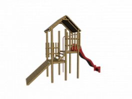 Kids wooden playset 3d model preview