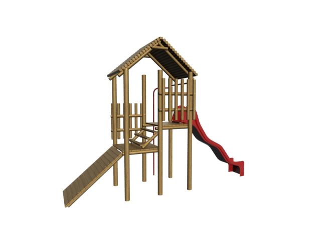Kids wooden playset 3d rendering
