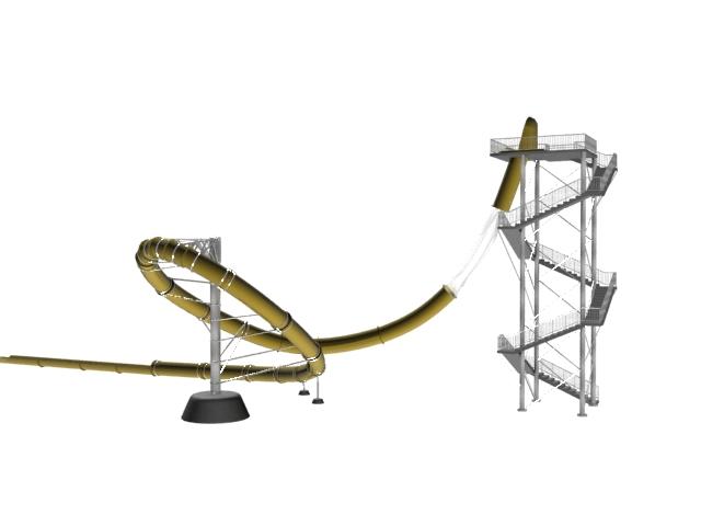 Amusement park slide 3d rendering