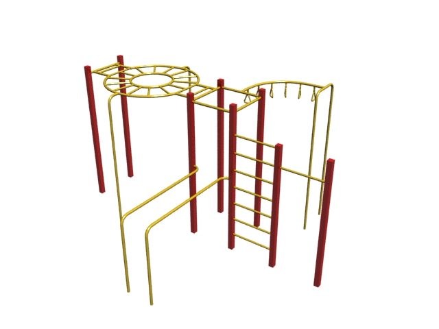 Outdoor adult climbing frame 3d rendering