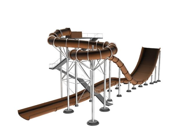 Amusement park water slide 3d rendering