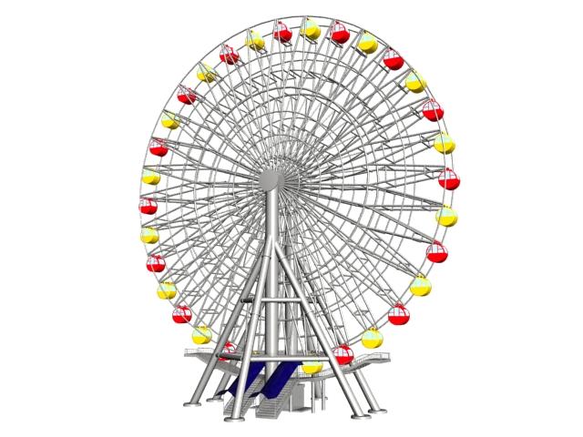 Modern big ferris wheel 3d rendering