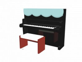 Kawai upright piano and bench 3d preview
