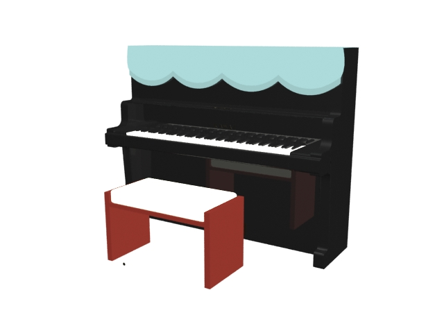Kawai upright piano and bench 3d rendering