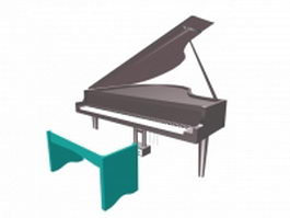 Grand piano with bench 3d preview