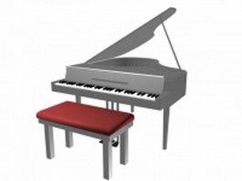 White grand piano 3d preview