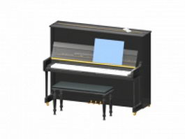 Electronic piano with bench 3d preview