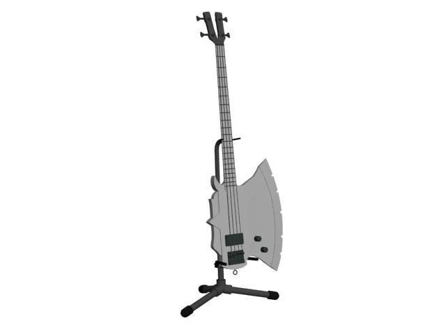 Axe bass guitar 3d rendering