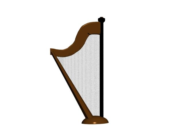 Celtic harp 3d rendering