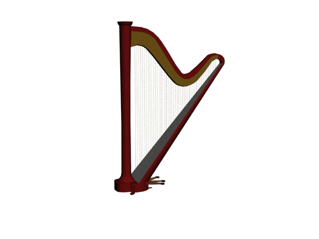 Pedal harp 3d rendering