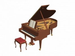Acoustic grand piano 3d preview
