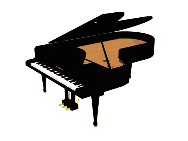 Large grand piano 3d rendering