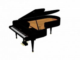 Black grand piano 3d preview