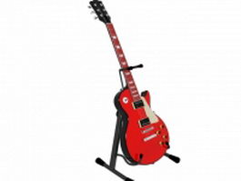 Red electric guitar 3d model preview