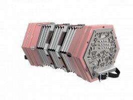 MIDI accordion 3d model preview