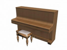 Upright piano with bench 3d model preview