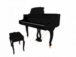 Grand piano with piano stool 3d model preview