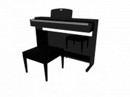 Black upright piano with stool 3d preview