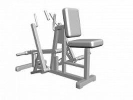 Fitness seated row machine 3d model preview