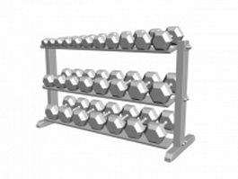 Dumbbells on rack 3d preview