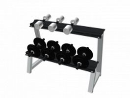 Fitness dumbbell set with rack 3d preview