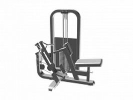 Seated row machine 3d model preview