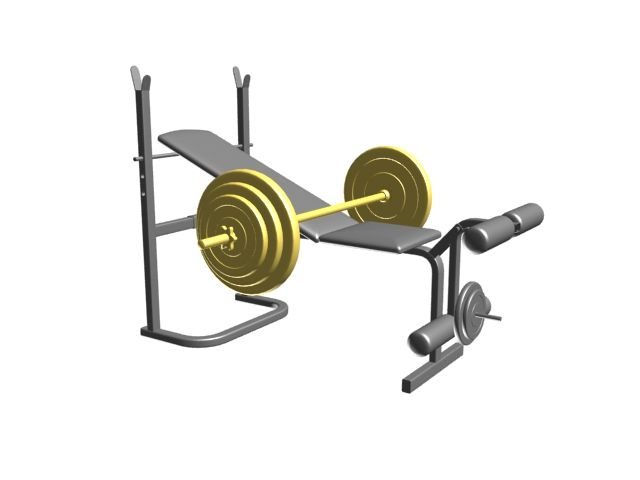 Adjustable gym bench with rack and hold bar 3d rendering