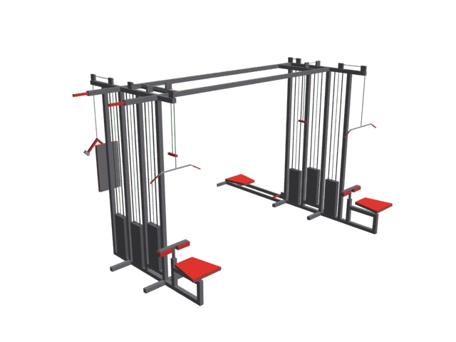 Lat pull down machine and cable cross pully 3d rendering