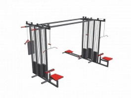 Lat pull down machine and cable cross pully 3d preview