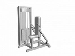 Seated upright row machine 3d preview