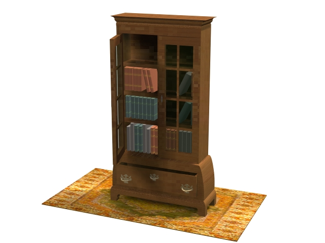 Chippendale furniture bookcase 3d rendering