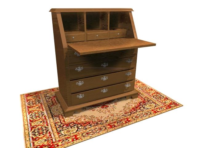 Chippendale desk secretaire 3d rendering