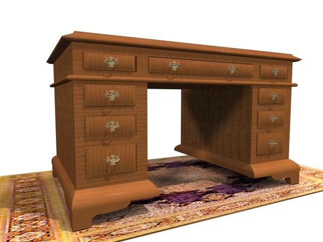 English writing desk 3d rendering