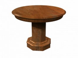 Circular wood solid table 3d preview