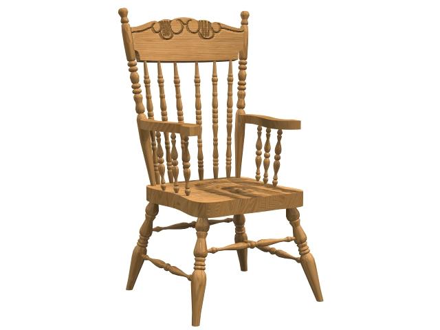 Comb-back windsor armchair 3d rendering
