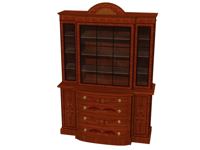 Classical satinwood bookcase 3d rendering
