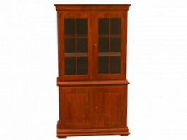 Classic wooden bookcase 3d preview