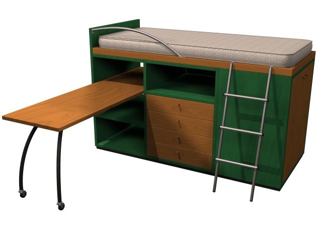 Children bed furniture 3d rendering