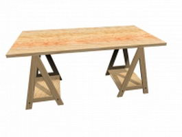 Workbench wood table 3d preview