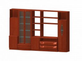 Wood furniture wall units 3d preview