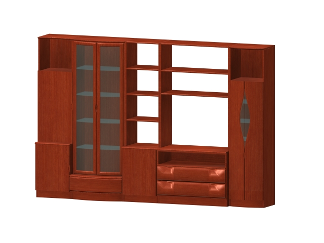 Wood furniture wall units 3d rendering