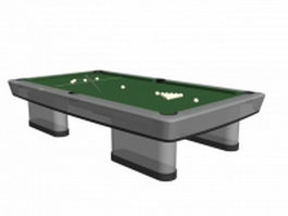 Pool table with equipment 3d model preview