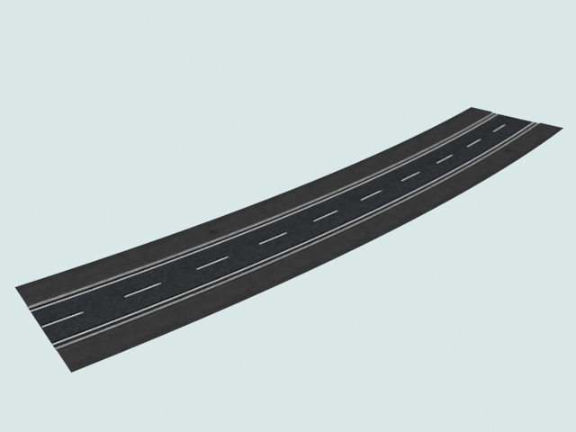 Left 15 curved road 3d rendering