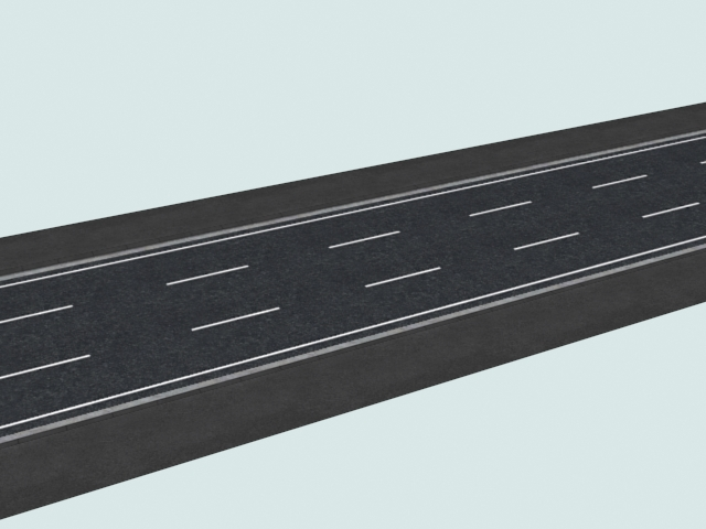 Three-lane road 3d rendering