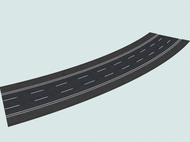 Three-lane left 30 curved road 3d rendering