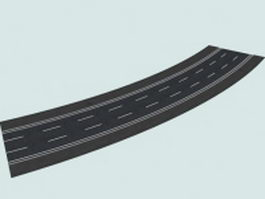 Three-lane left 30 curved road 3d preview