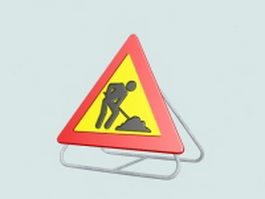 Road construction sign 3d preview