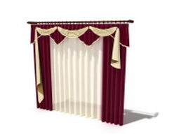 Maroon drapes and scarf swag valance 3d preview