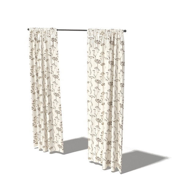 Printed shower curtains 3d rendering