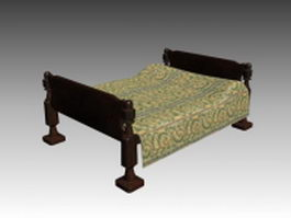 Classic sleigh bed 3d preview